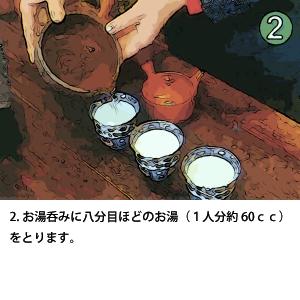 2.お湯呑みに八分目ほどのお湯(1人分約60cc)をとります。