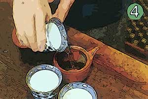 4. When the water cools down to about 70 degrees (celcius), pour the water from the tea cups into the teapot. Cover and steep for about 2 minutes.